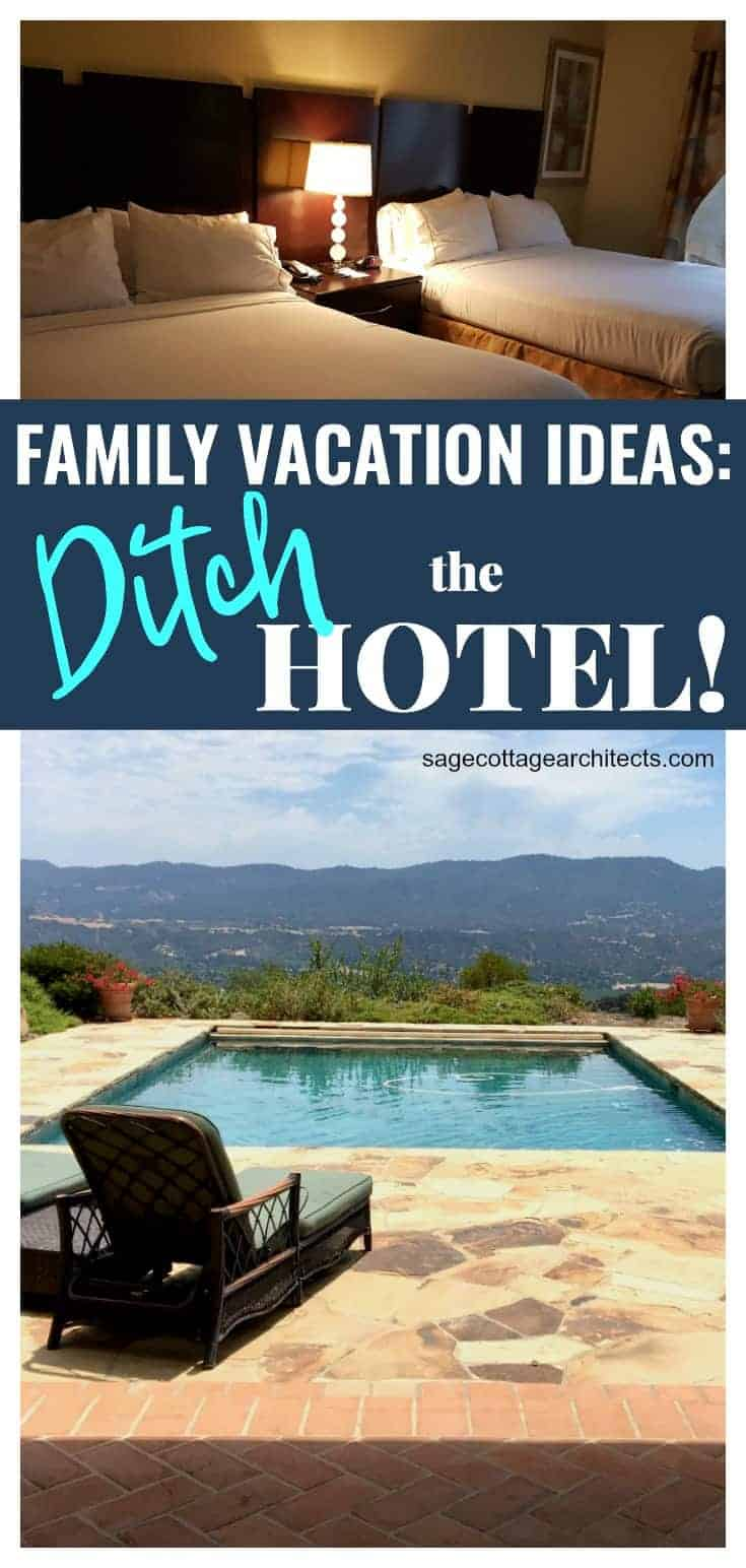 Photo collage of typical hotel room beds and vacation home with pool and mountain views.
