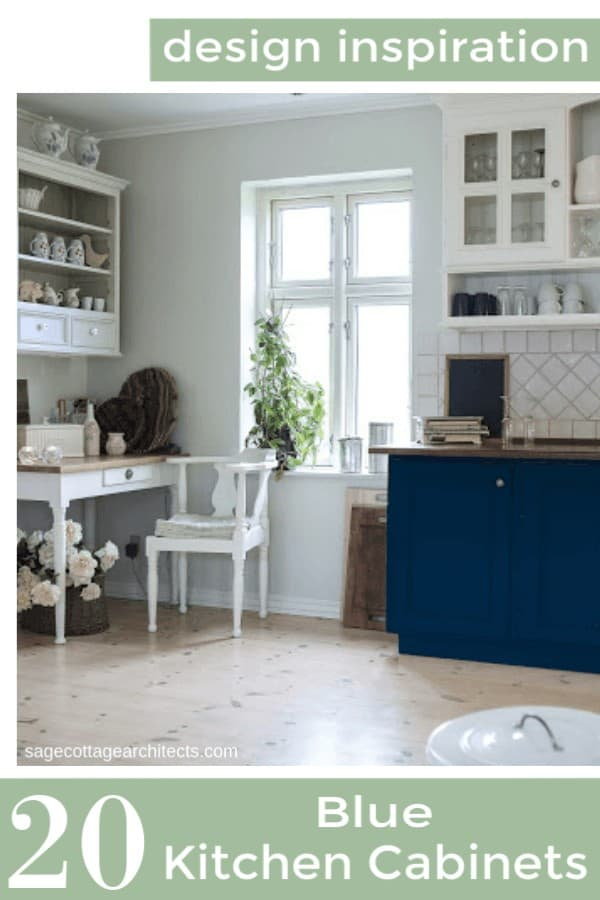 Photo collage of a white kitchen with blue cabinets on the lower half.