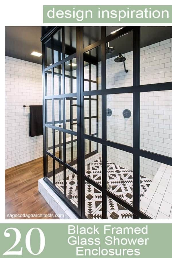 Photo collage of black framed glass shower enclosure