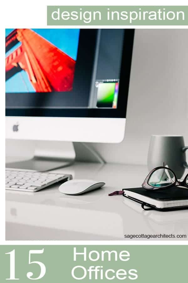 Photo collage of white desktop and Apple computer in a typical home office.