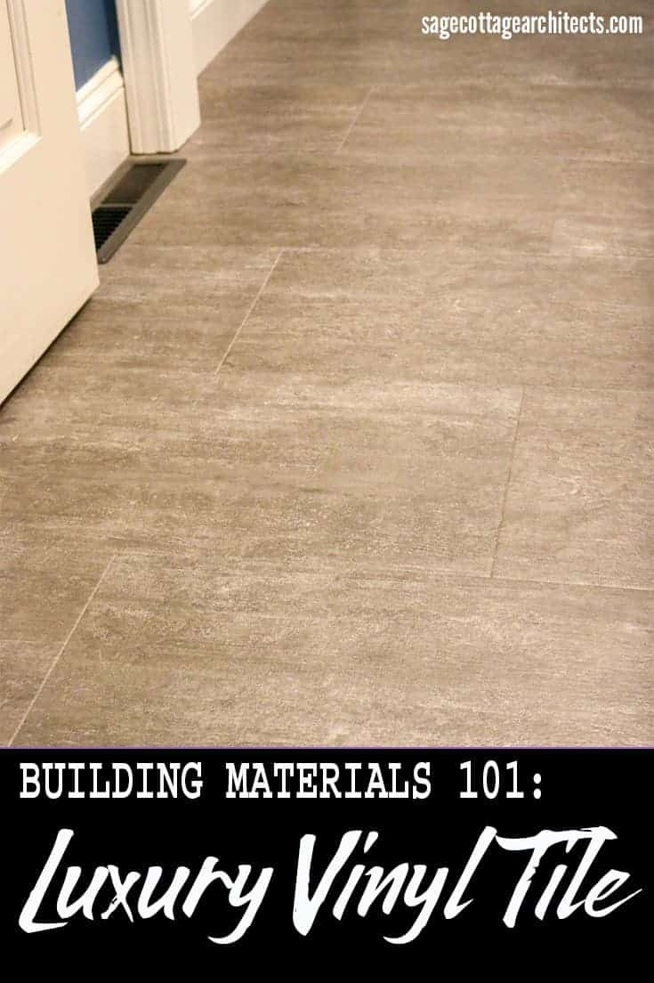 Photo collage of dark grey luxury vinyl tile floor.