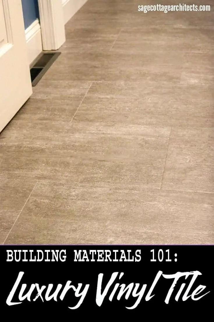 Photo collage of dark grey luxury vinyl tile floor.