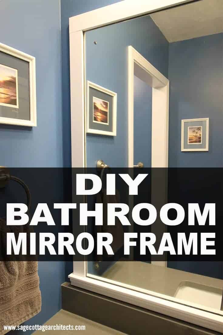 Photo collage of DIY bathroom mirror frame project