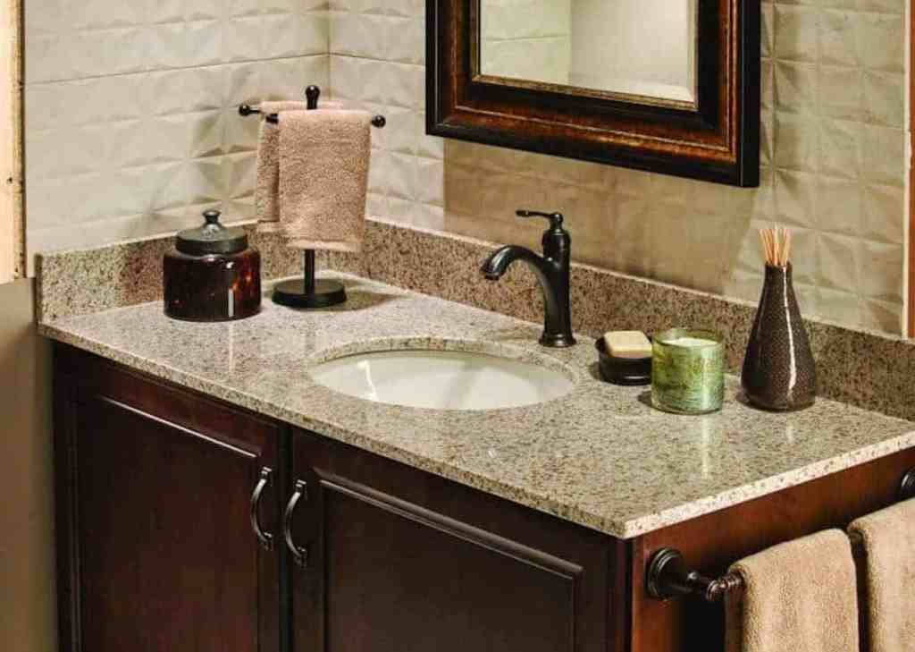 Photo of brown bathroom vanity