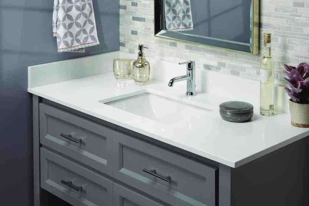Photo of white bathroom vanity