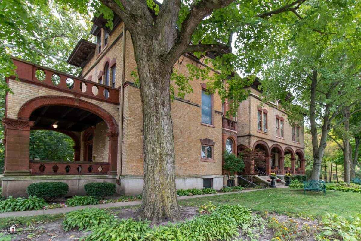 Photo of the Vrooman Mansion, an historic brick home.