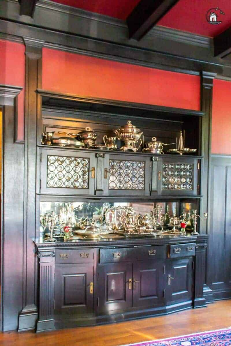 Photo of black stained wood built in buffet in the Vrooman Mansion.