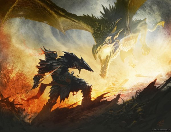 Alduin breathing fire on the hero