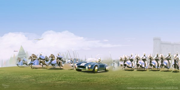 Cobra Car charging in the battlefield with knights.