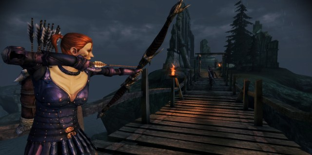 Dragon Age Leliana lining up a shot