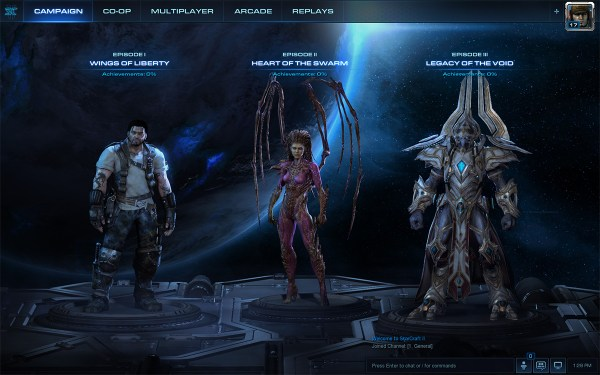 StarCraft II campaign screen.