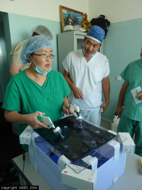 Mongolia surgeons with makeshift training box