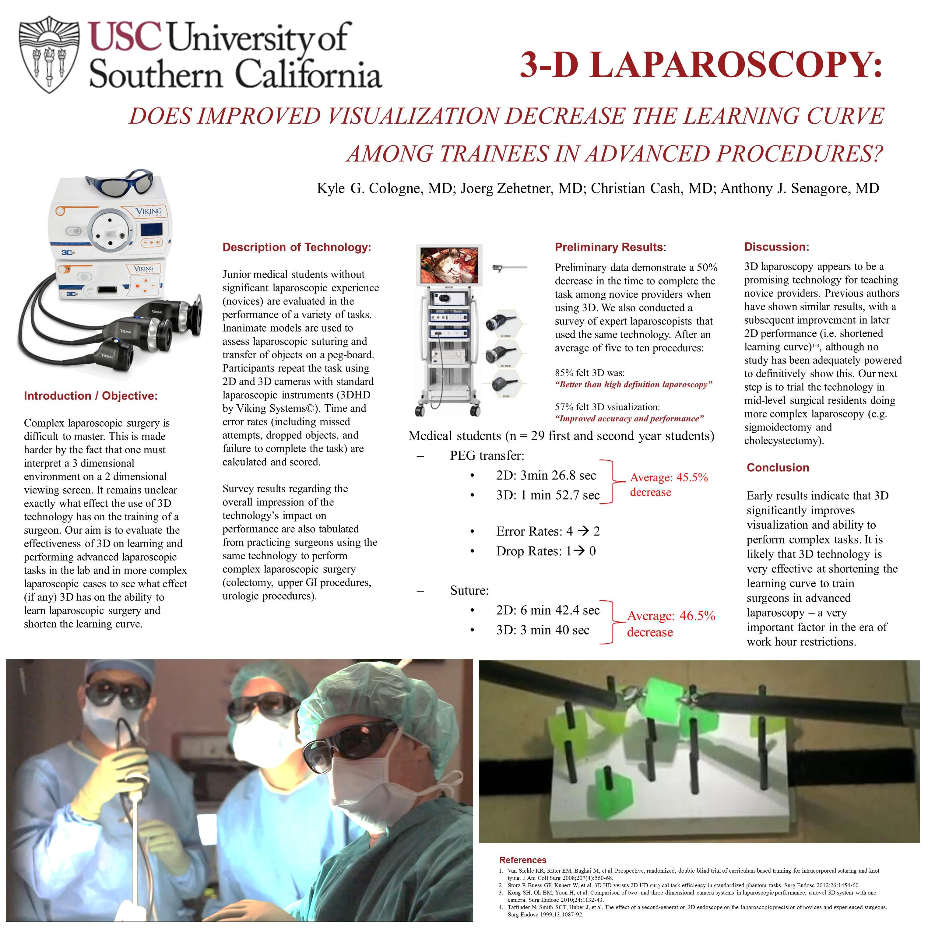 3D laparoscopy - does improved visualization decrease the learning