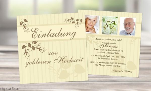 Einladungskarte Goldene Hochzeit Flachkarte 125x125 Cm Grün
