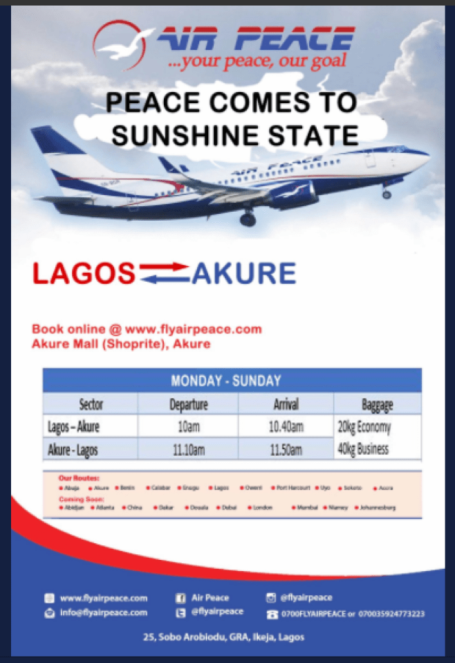 Air Peace Lagos To Akure Flight Schedule (Days and Time)