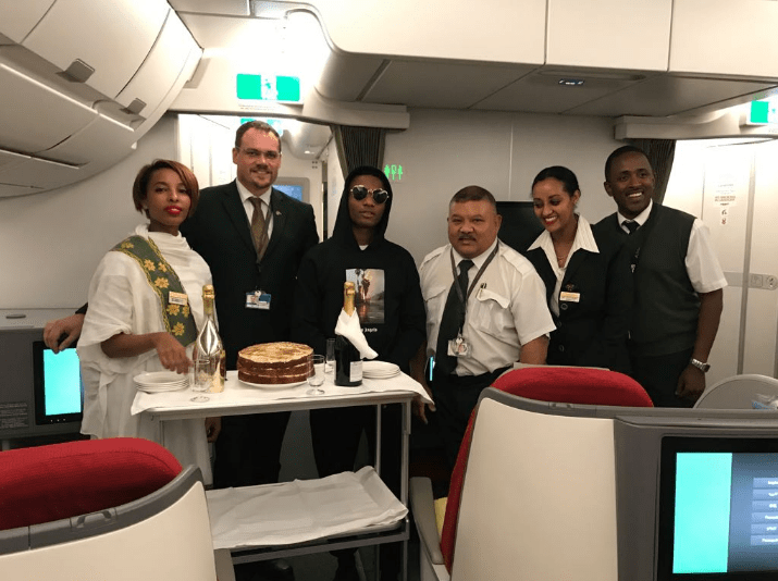 See How Ethiopian Airways Welcomed Wizkid On-Board The Airplane