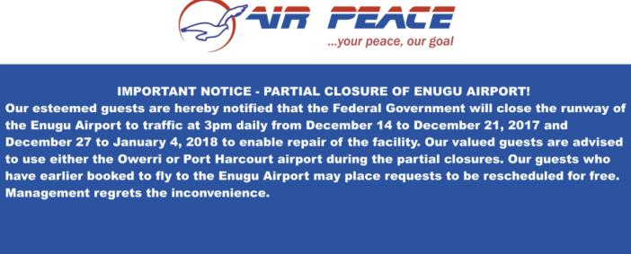Akanu Ibiam International Airport, Enugu To Partly Close For Maintenance