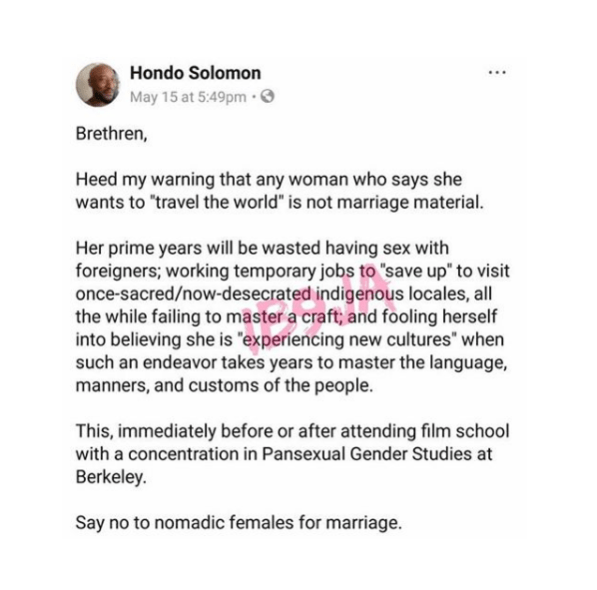 Female Travellers Are Not Wife Material - Author Hondo Solomon