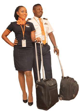 Aero Contractors pilot and cabin crew with their duty bag