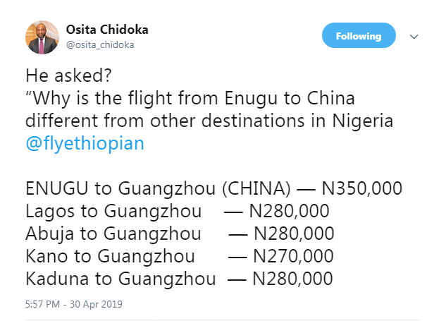 Why Enugu & Lagos To China Flight Fare Is Different On Ethiopian Airlines