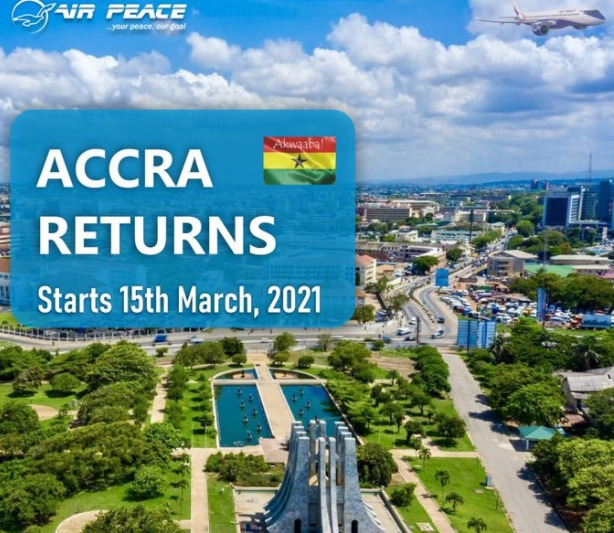 Covid-19: Air Peace Resumes Lagos to Accra, Ghana Flight