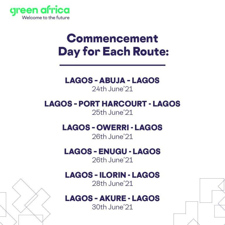 Green Africa Starts 16,500 Flights from Lagos to Abuja, Owerri, Abuja, Ilorin, Akure, Portharcourt and Enugu