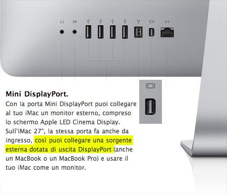 L'ingresso mini Display Port accetta solo sorgenti DisplayPort