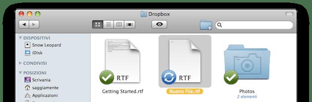 Aggiunta file su DropBox