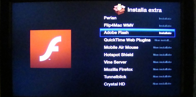 installazioni funzioni extra Apple TV con aTV flash, codec, flash, perian, flip4mac