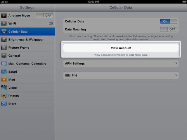 ipad 3g creazione account profilo tariffario dati
