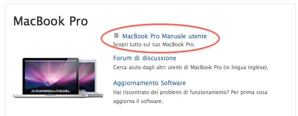 manuale utente MacBook Pro