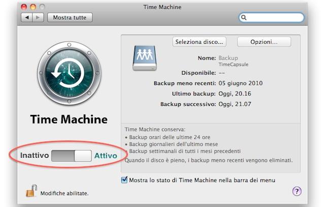 attivare Time Machine