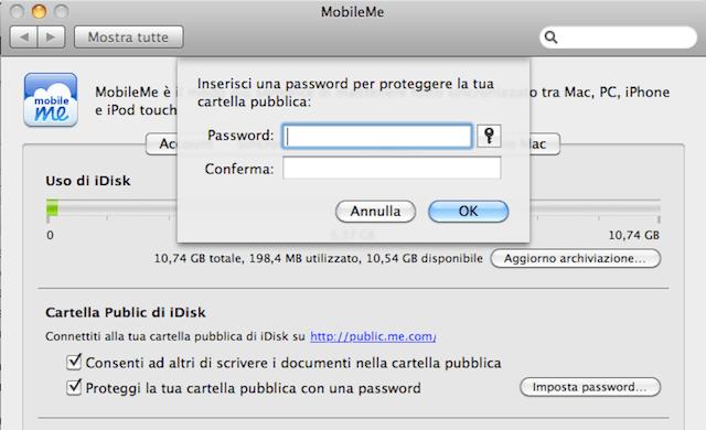 protezione password cartella pubblica mobileme