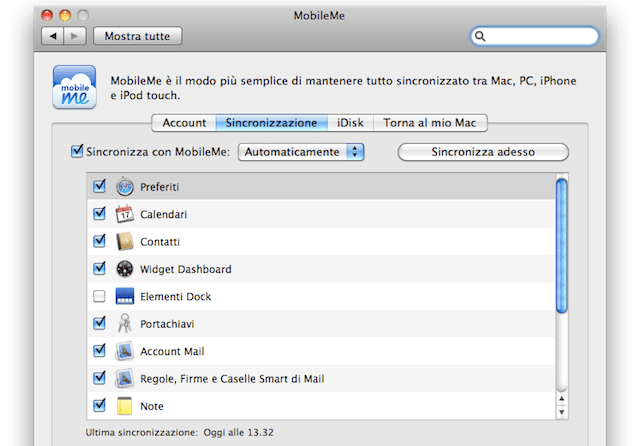 mobilme sincronizzazione