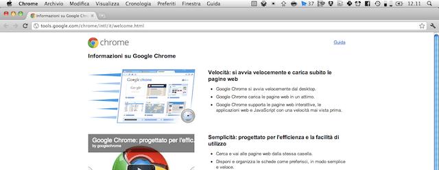 Screenshot di Google Chrome Canary in azione