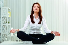 Women Meditates in Office