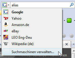 Suchmaschinen verwalten