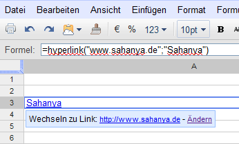 Verlinkter Text in Zelle