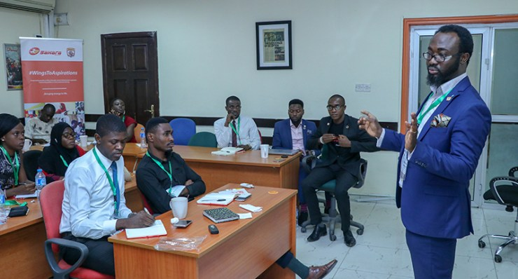 Olumuyiwa Adebayo, CFA Head, Group Finance,  Sahara Group during a session at #StartUpNation