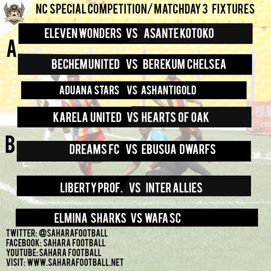 Special Competition: Weekend fixtures (Matchday 3)