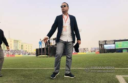 رئيس الاتحادية الموريتانية لكرة القدم أحمد ولد يحيى خلال تنظيم الحفل (صحراء ميديا)