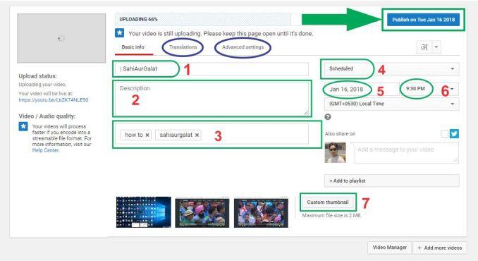 Basics info, Translations, Advanced setting