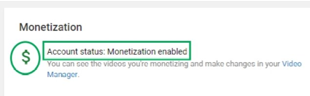 MONETIZATION STATUS ENABLED