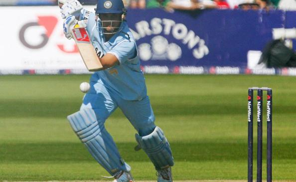 Indian cricketer Sourav Ganguly plays a