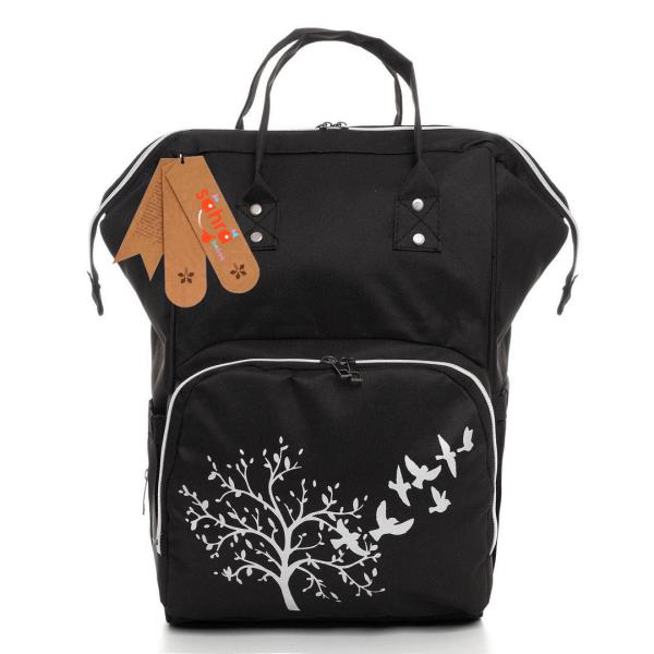 Leke tutmaz su geçirmez termal bölmeli ağaç desenli klasik anne bebek bakım sırt çantası- Siyah