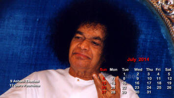 Sri Sathya Sai Photo Calendar - July 2014