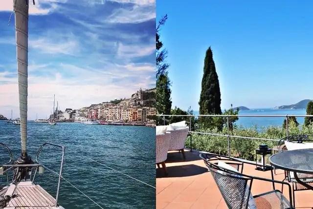 5 Terre. Dalla terrazza di un B&B, al ponte di una barca a vela.