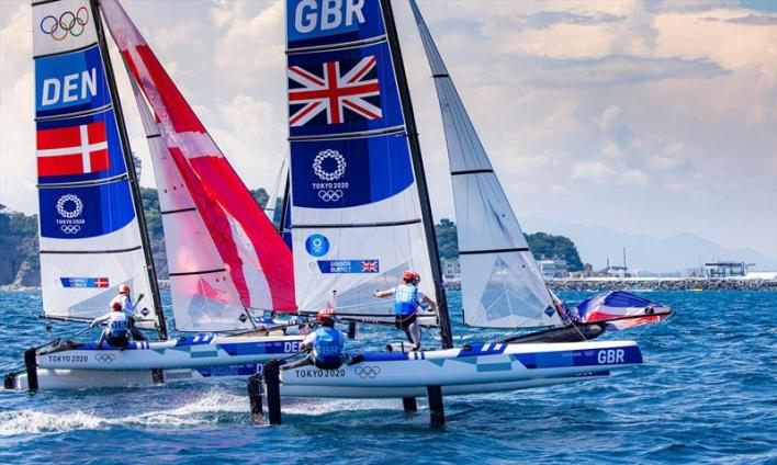 John Gimson and Anna Burnet (GBR) in the Nacra 17 class on day 8 of the Tokyo 2020 Olympic Sailing Competition - photo © Sailing Energy / World Sailing