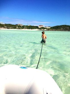 Alex pulling our dinghy