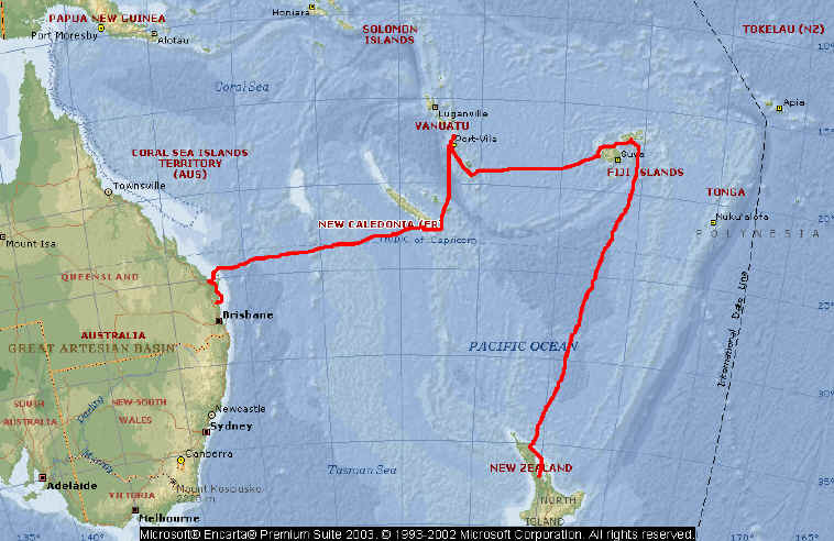 Map of the Voyage The route sailed is depicted by the green line on the map above and is  shown in greater detail on the map below